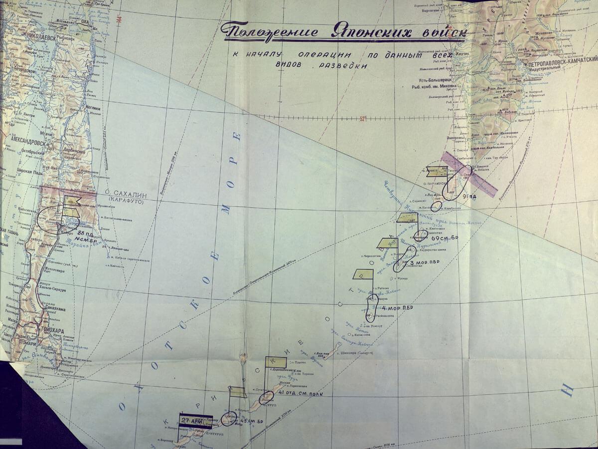 Карта положения японских войск