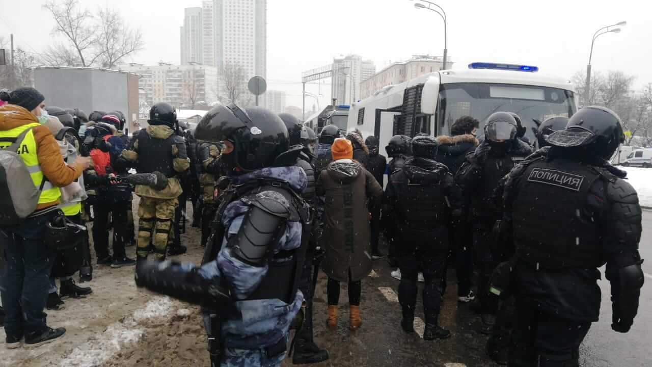Силовики на митинге в Москве 31 января