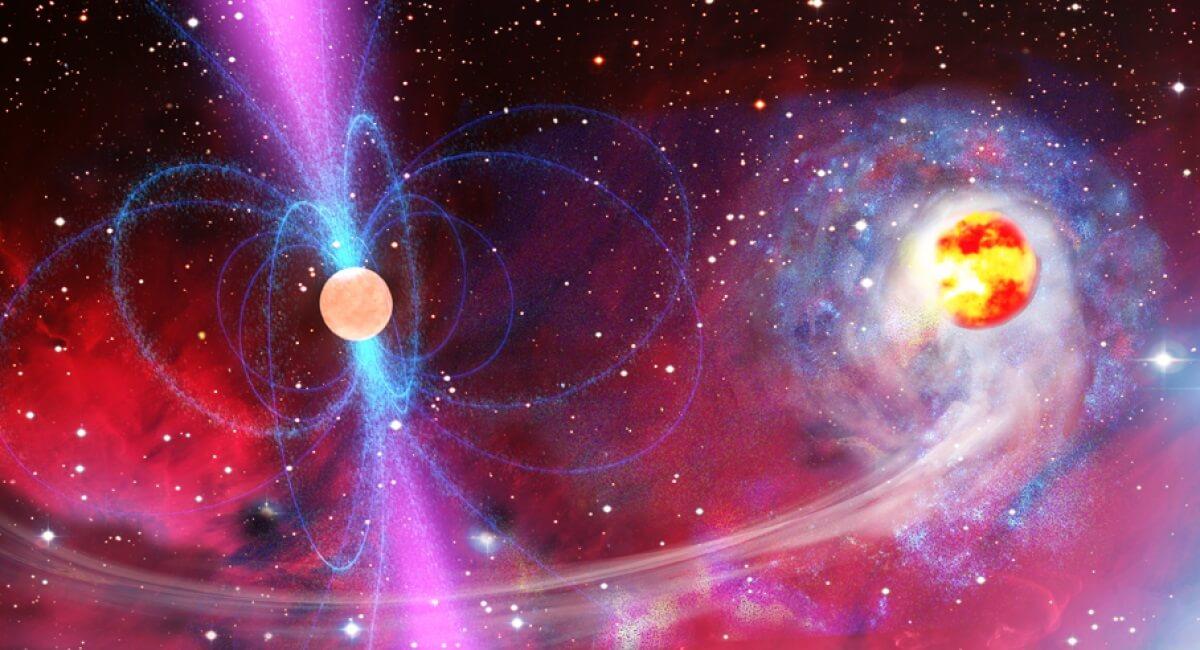 Рентгеновский пульсар — аккрецирующая нейтронная звезда с магнитным полем — в представлении художника. Изображение (с) LISA Consortium