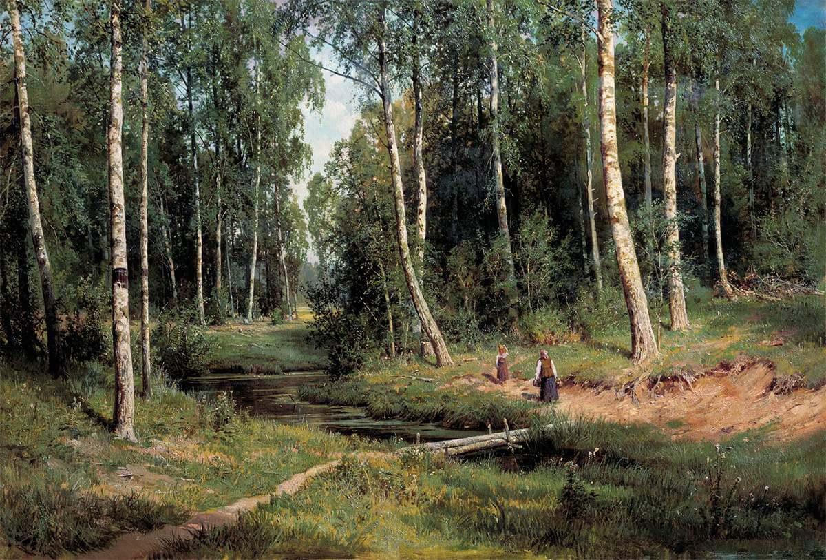 Ручей в березовом лесу