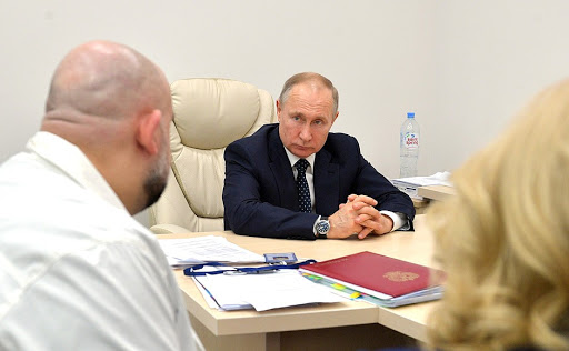 Осмотр больницы в Коммунарке президентом Владимиром Путиным